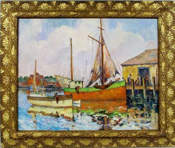 3007: SIGNED GEORGE TURLAND, HARBOR SCENE, O/C