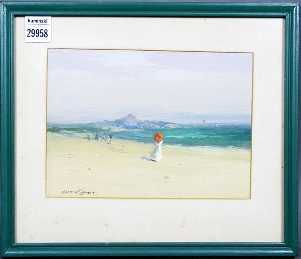 3012: SIGNED CLARENCE BRALEY, BEACH SCENE, O/C
