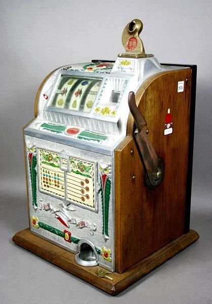 3013: 1923 MILLS NOVELTY FIVE-CENT OWL SLOT MACHINE