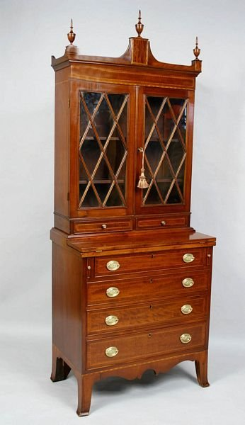 3070: 19th C. INLAID MAHOGANY DIMINUTIVE SECRETARY