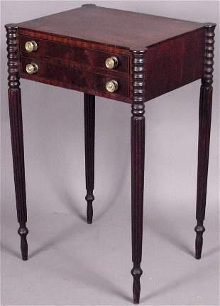 19th CENTURY INLAID MAHOGANY WORK TABLE