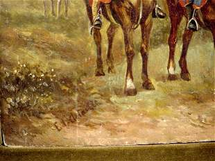 SIGNED EDOUARD DE TAILLE OIL PAINTING