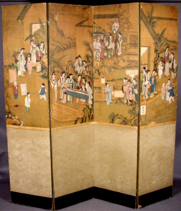 7: 19TH CENTURY CHINESE FOUR PANEL SCREEN