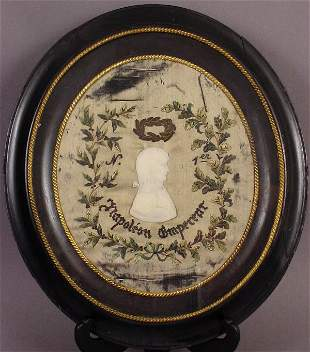 NAPOLEONIC EMBROIDERED SILK WALL HANGING