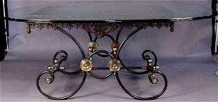 19TH CENTURY FRENCH IRON AND BRASS BAKER'S TABLE