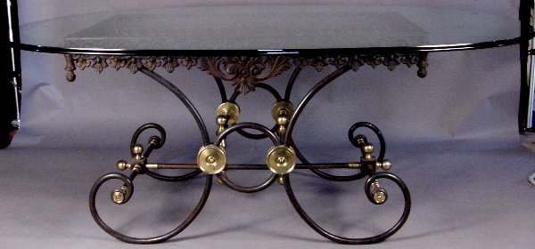 18: 19TH CENTURY FRENCH IRON AND BRASS BAKER'S TABLE