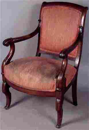 RARE 19TH CENTURY BOSTON CLASSICAL ARMCHAIR