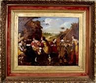 56: 17TH CENTURY FLEMISH SCHOOL PAINTING TAVERN SCENE