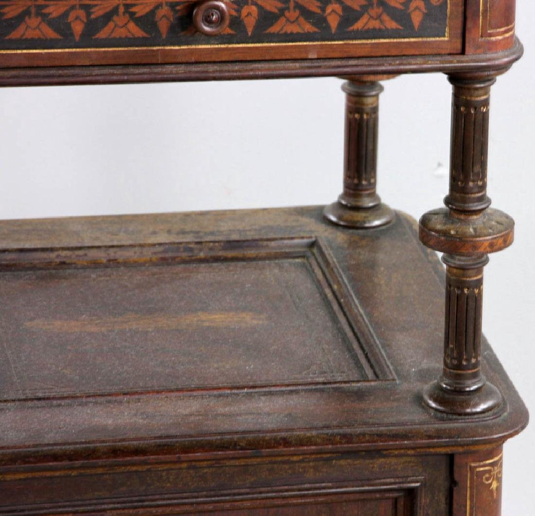 Pair of Victorian Walnut Beds with Night Stand - 10