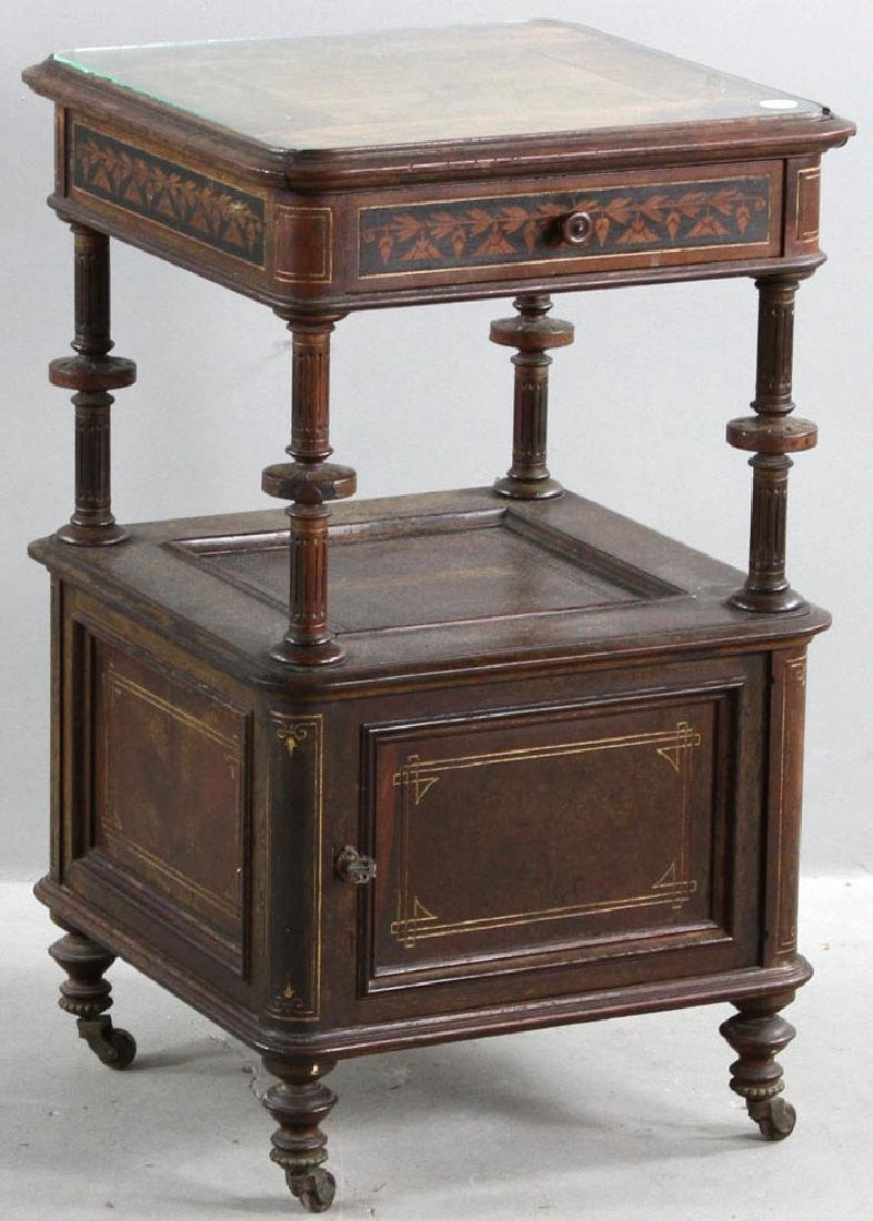 Pair of Victorian Walnut Beds with Night Stand - 8
