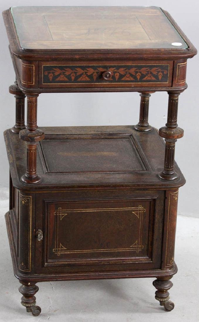 Pair of Victorian Walnut Beds with Night Stand - 9