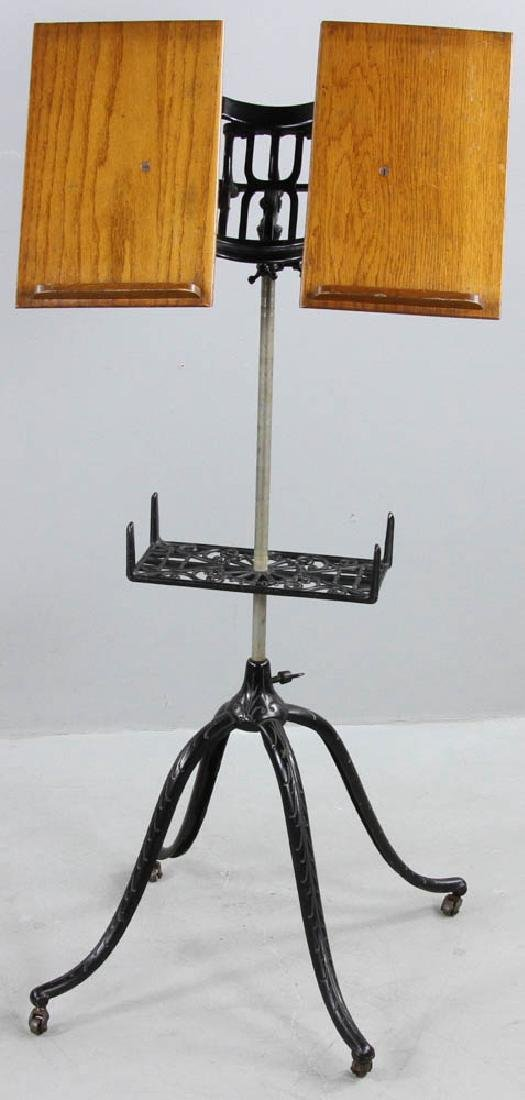 Antique Oak Book Stand Cast Iron Base