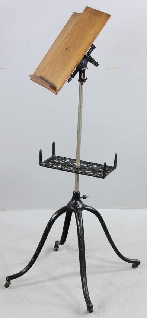 Antique Oak Book Stand Cast Iron Base - 2