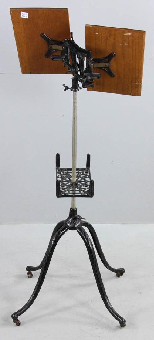 Antique Oak Book Stand Cast Iron Base - 4