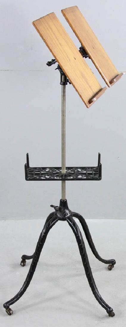 Antique Oak Book Stand Cast Iron Base - 5