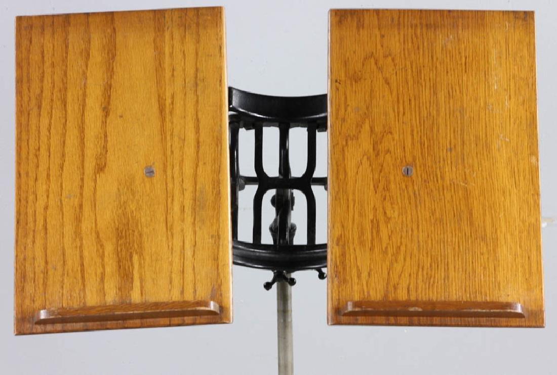 Antique Oak Book Stand Cast Iron Base - 6