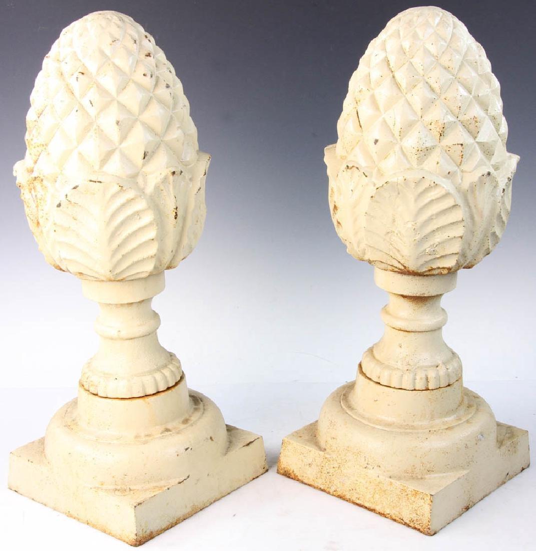 Pair of Cast Iron Garden Pineapple Finials