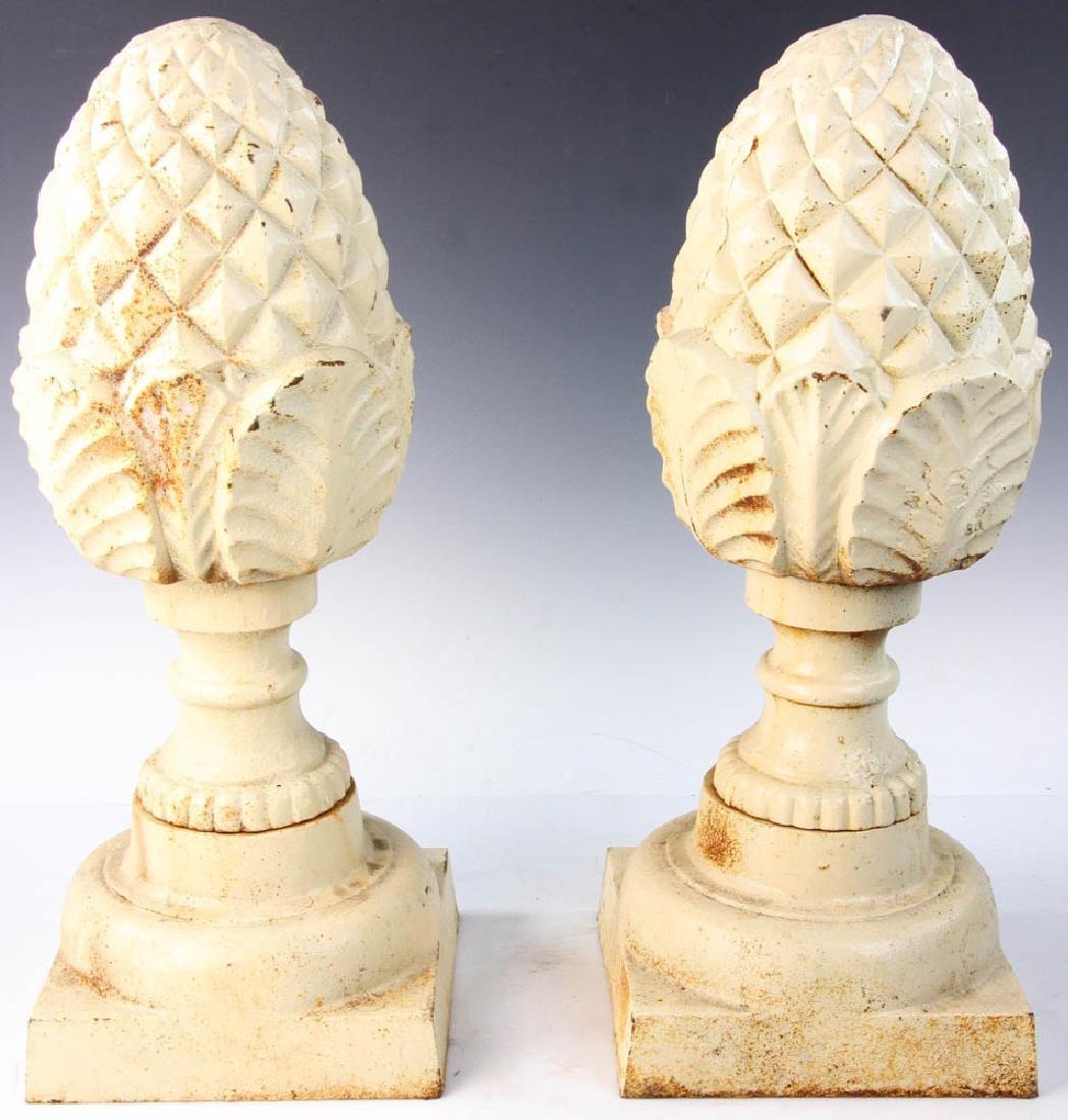 Pair of Cast Iron Garden Pineapple Finials - 2