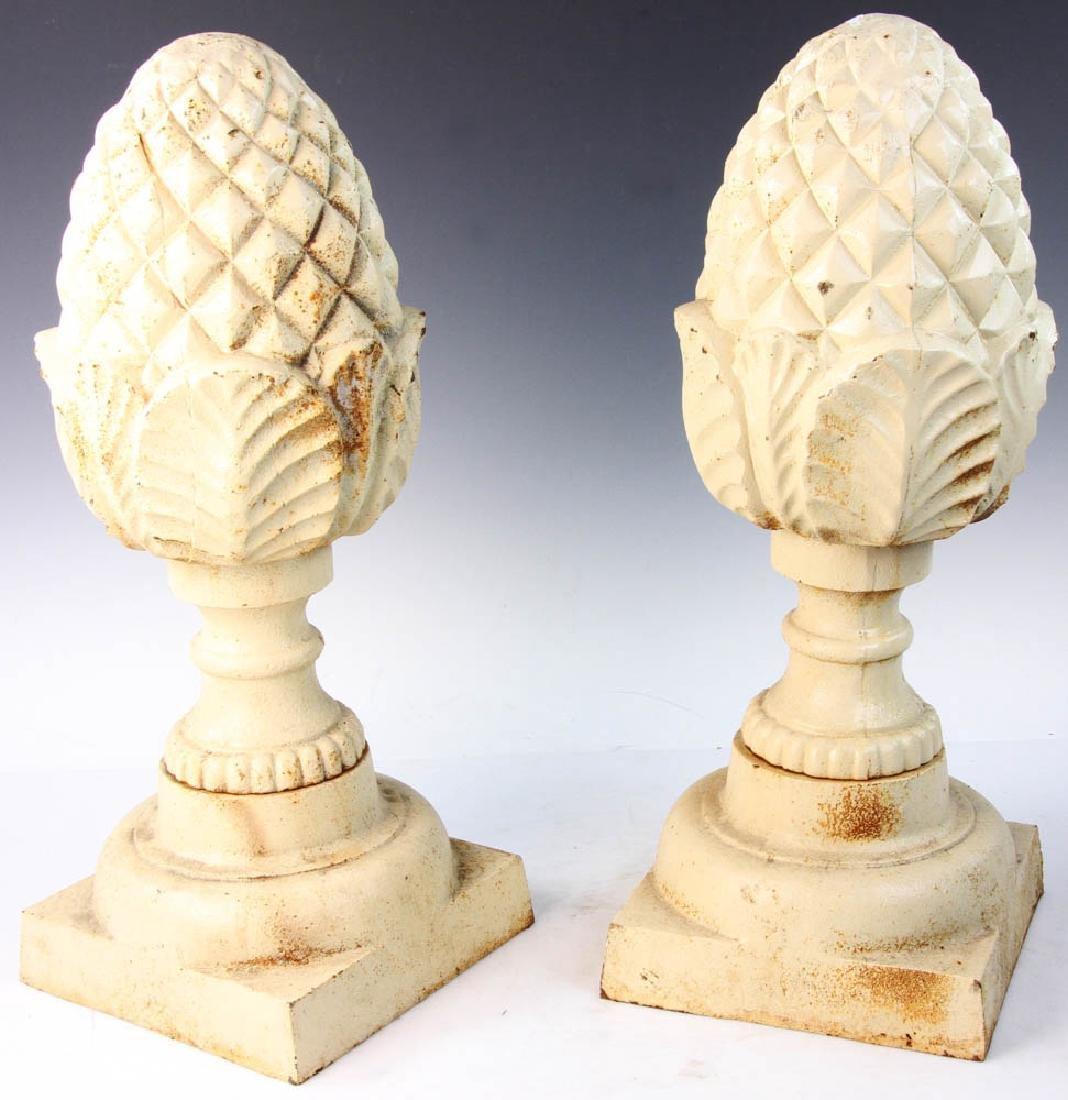 Pair of Cast Iron Garden Pineapple Finials - 3