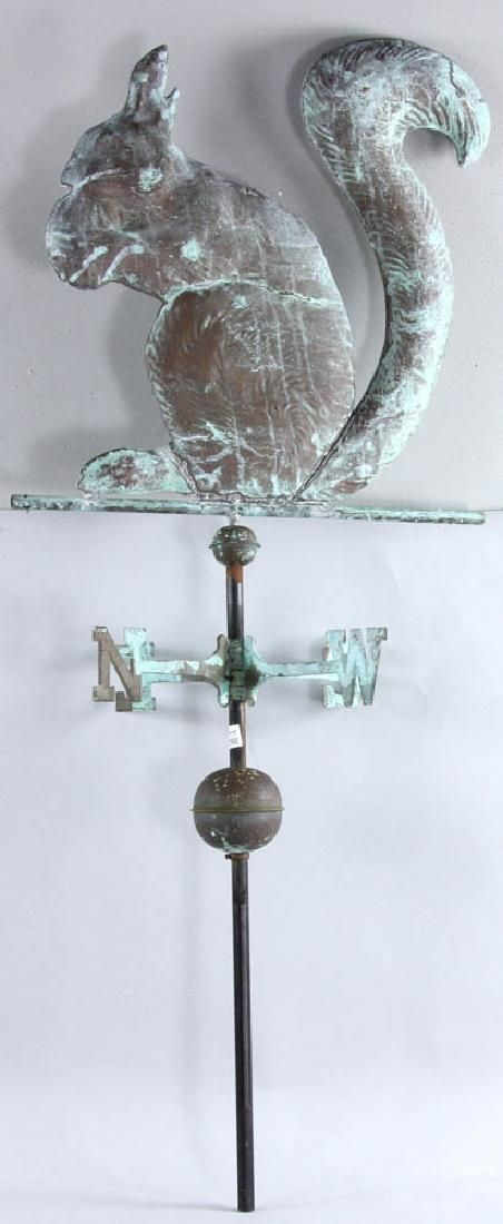 Early 20th C. Copper Squirrel Weathervane