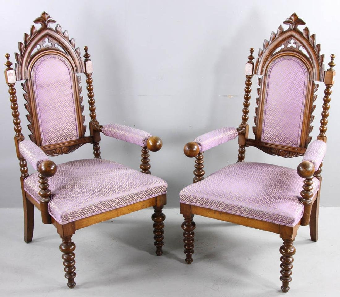 Pair of Oak Gothic Revival Armchairs