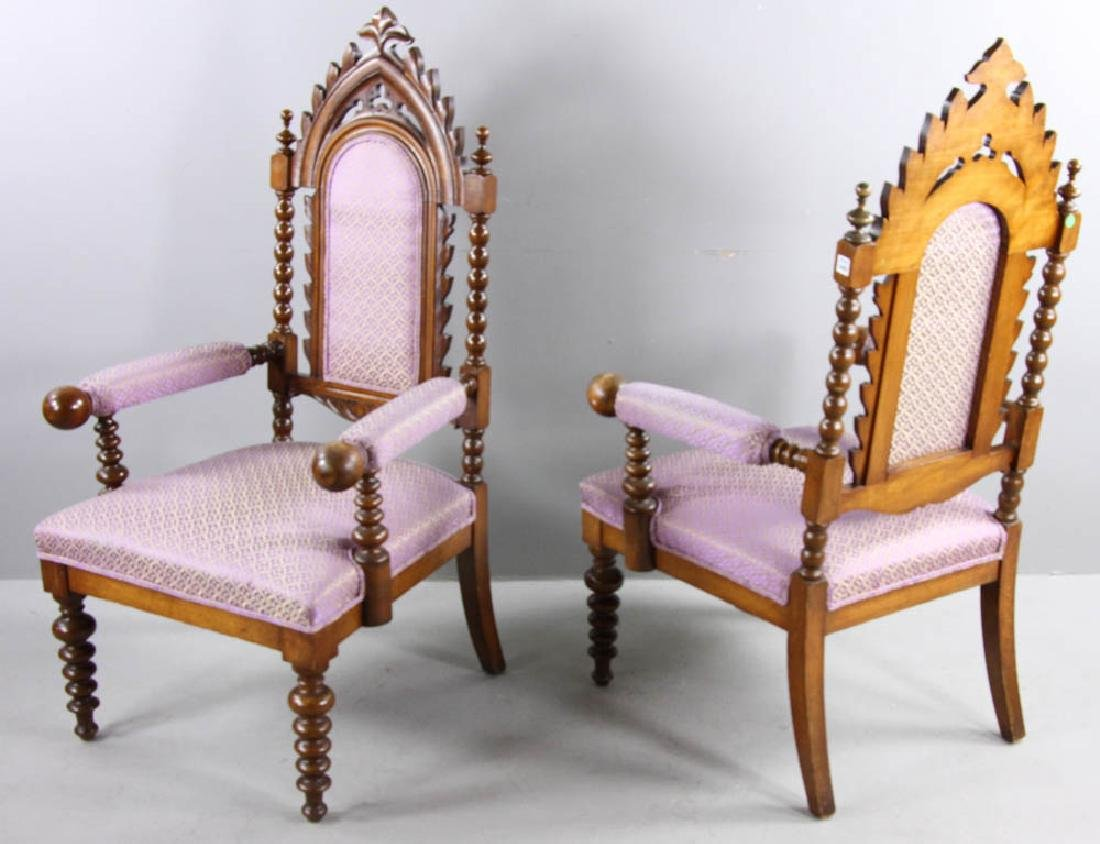 Pair of Oak Gothic Revival Armchairs - 2