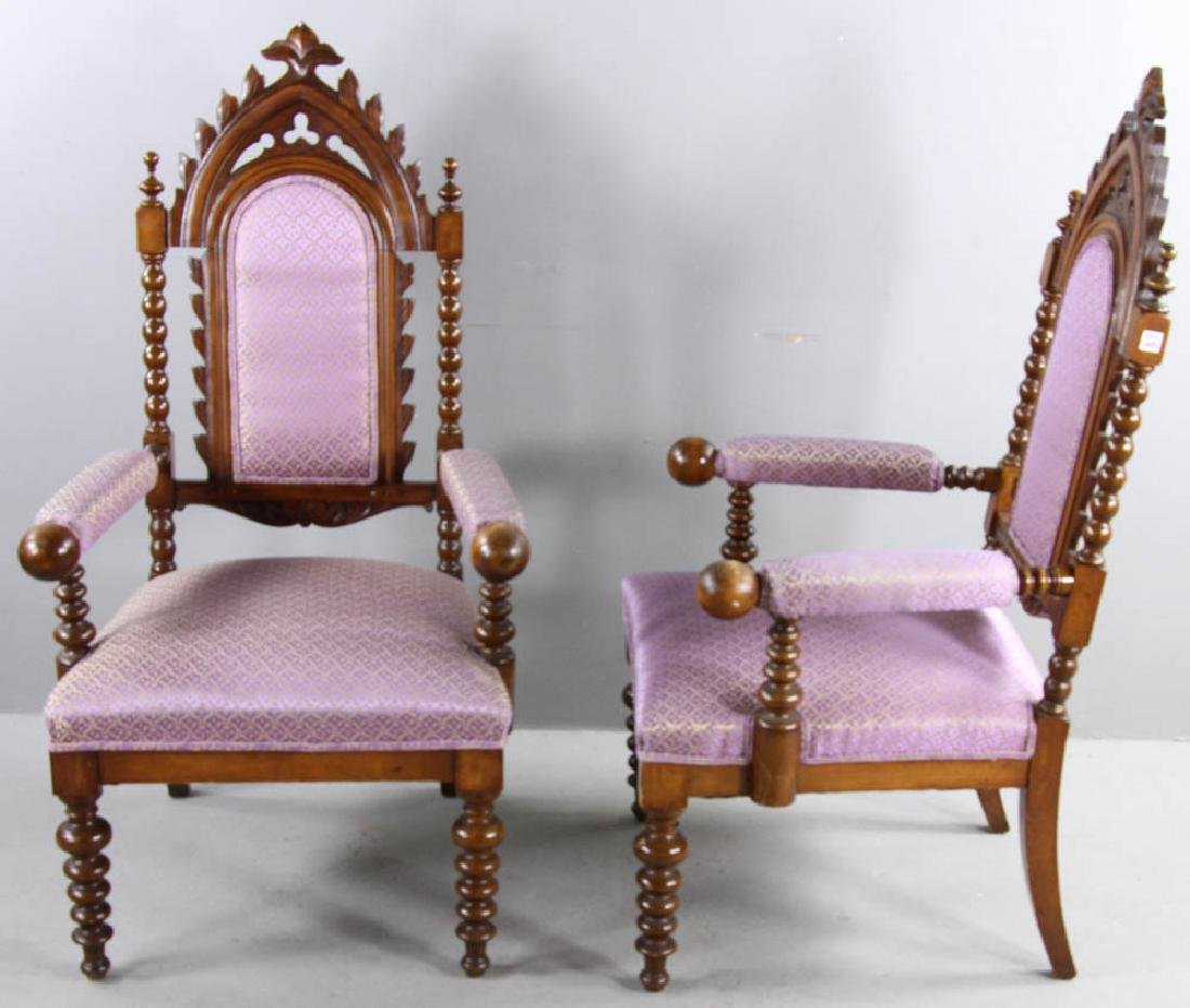 Pair of Oak Gothic Revival Armchairs - 3