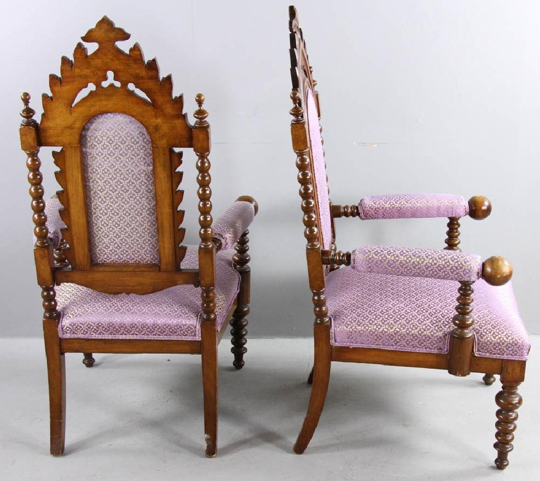 Pair of Oak Gothic Revival Armchairs - 4