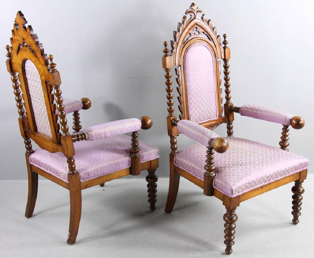 Pair of Oak Gothic Revival Armchairs - 5
