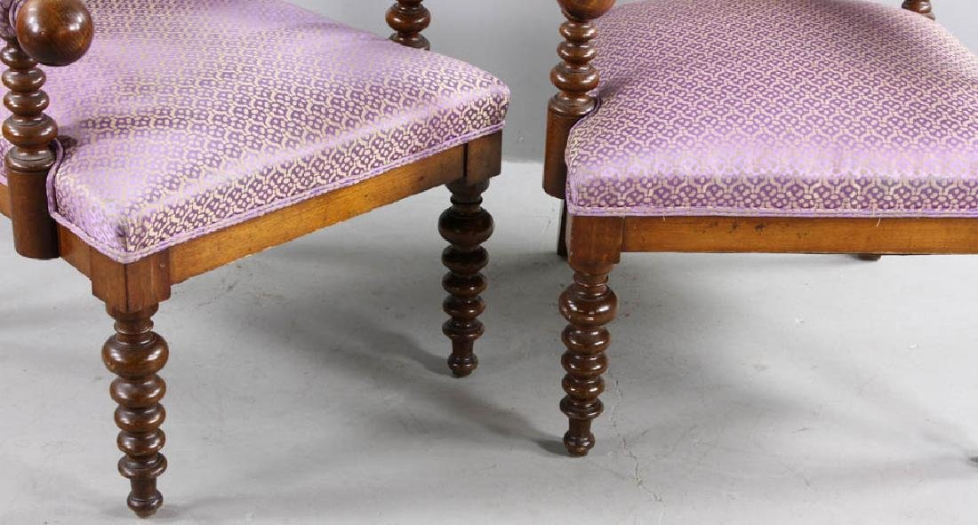Pair of Oak Gothic Revival Armchairs - 6