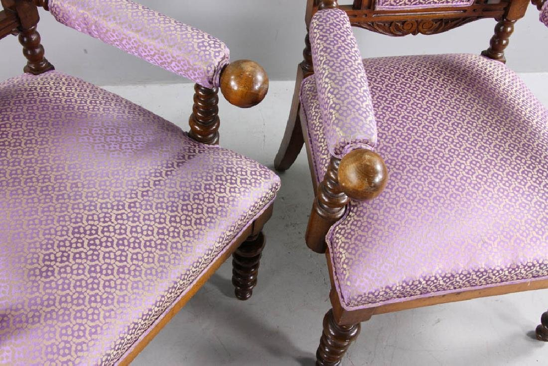 Pair of Oak Gothic Revival Armchairs - 8