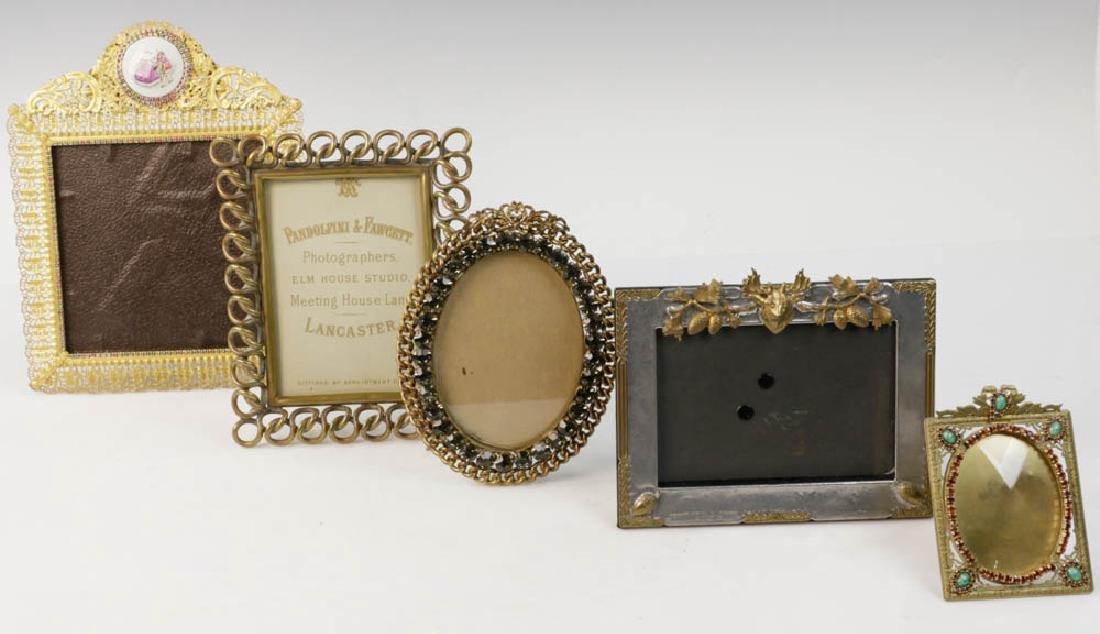 Five Vintage Brass Picture Frames