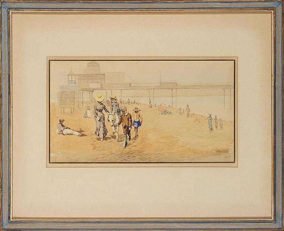 Two Watercolors of Beach Scenes - 4