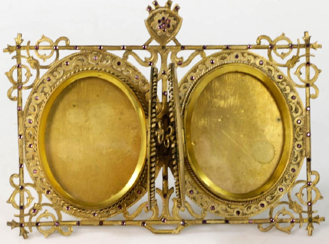 Vintage Double Locket Style Picture Frame - 4