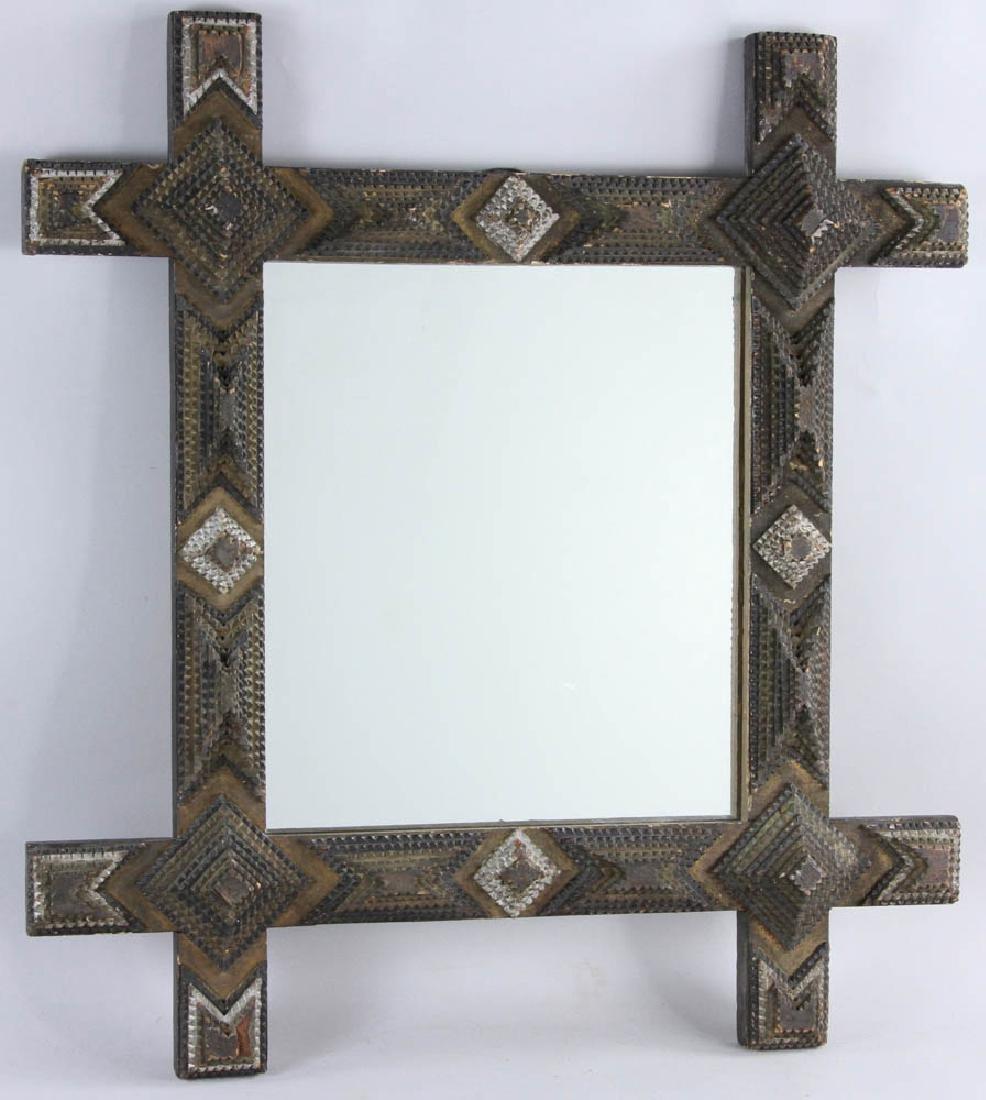 Tramp/Folk Art Mirror in  Chip Carved Frame