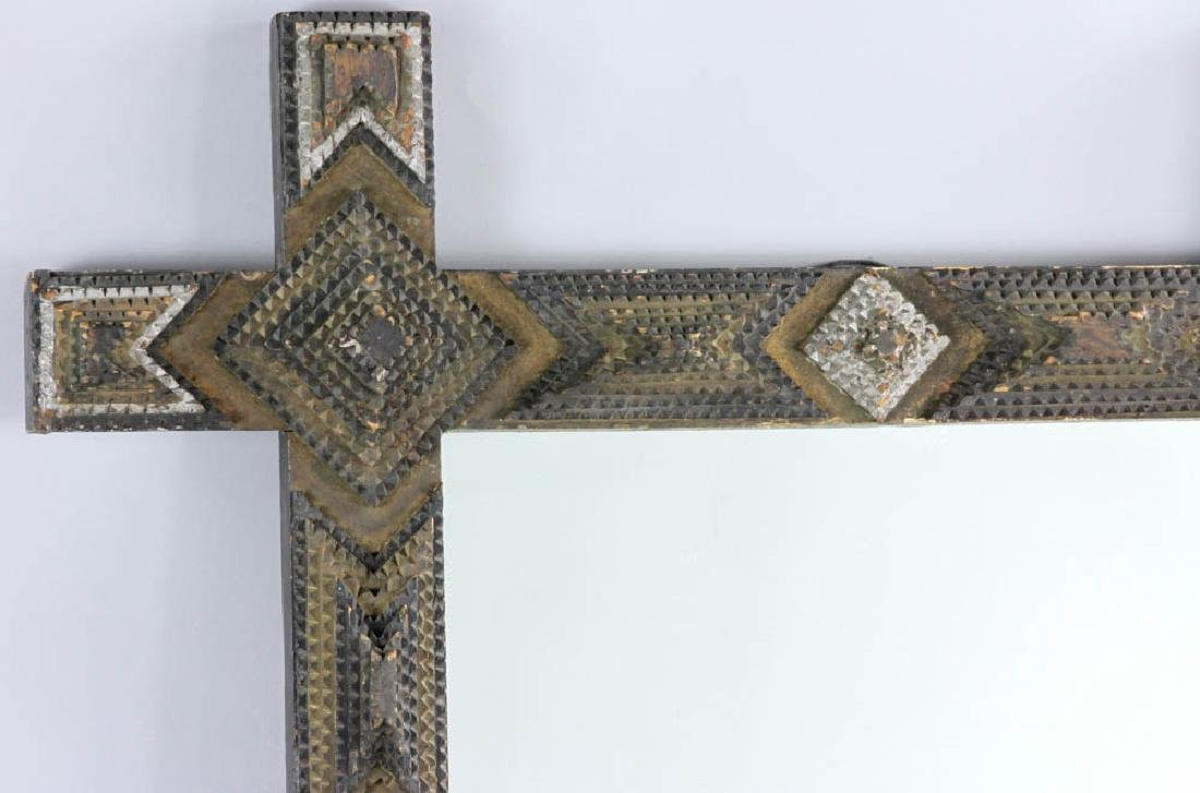 Tramp/Folk Art Mirror in  Chip Carved Frame - 3