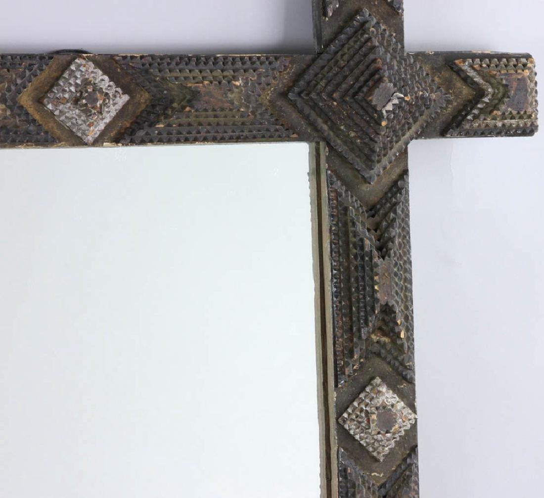 Tramp/Folk Art Mirror in  Chip Carved Frame - 4