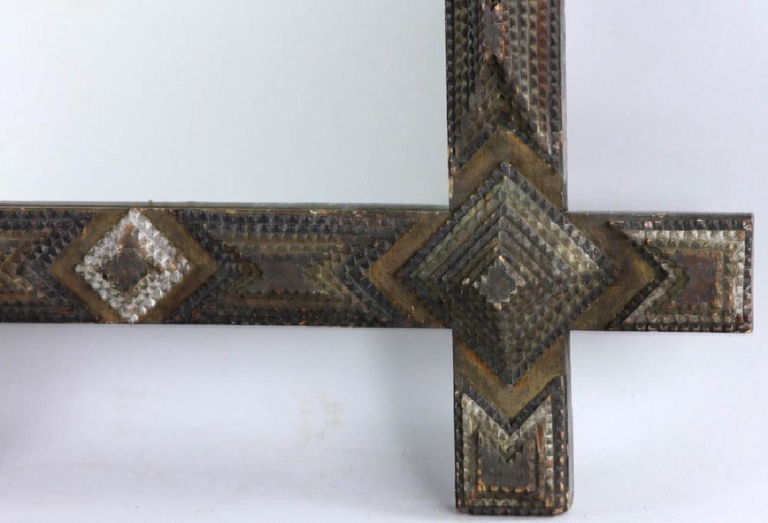 Tramp/Folk Art Mirror in  Chip Carved Frame - 5
