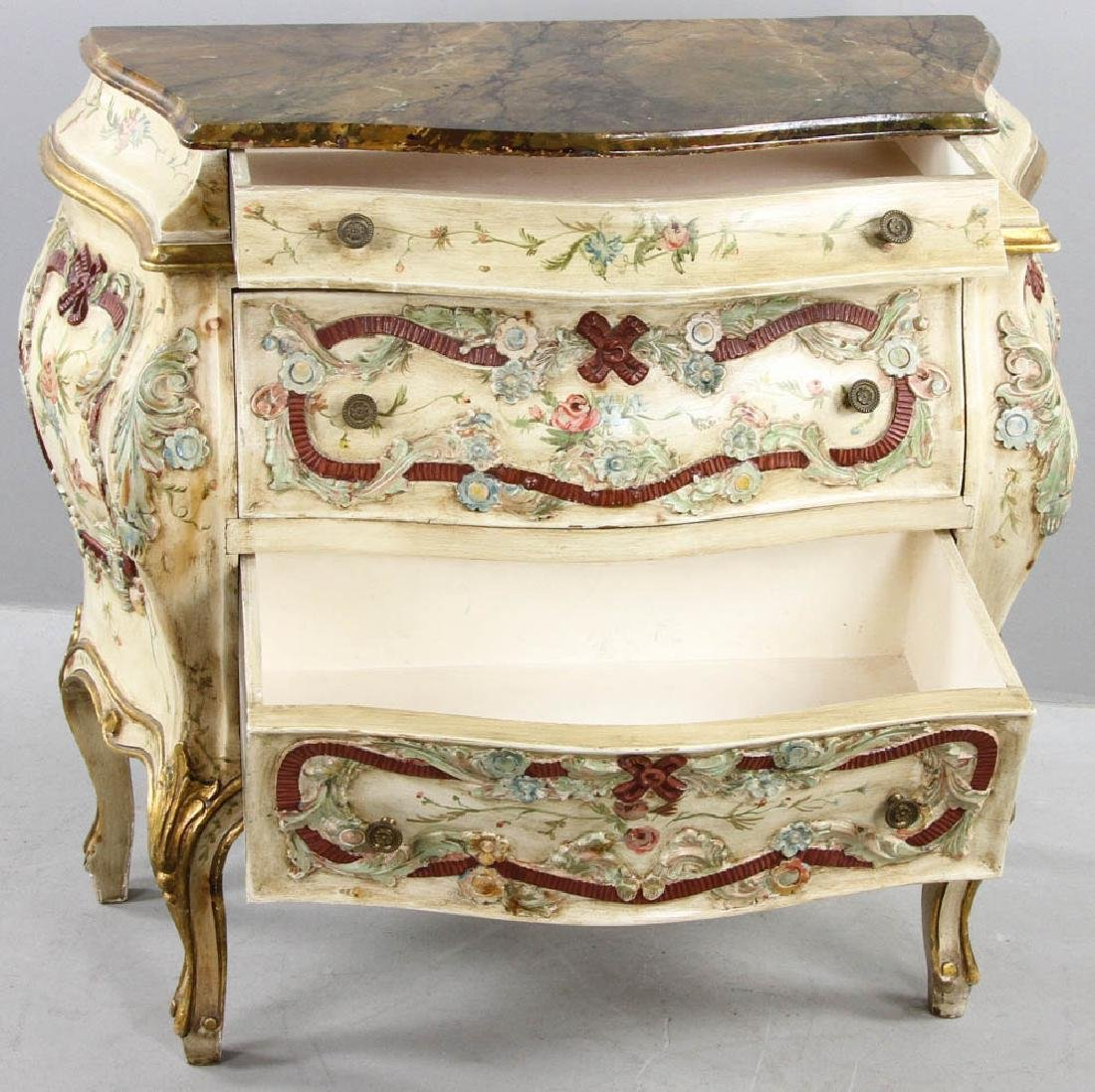 Paint Decorated Bombe Chest - 5