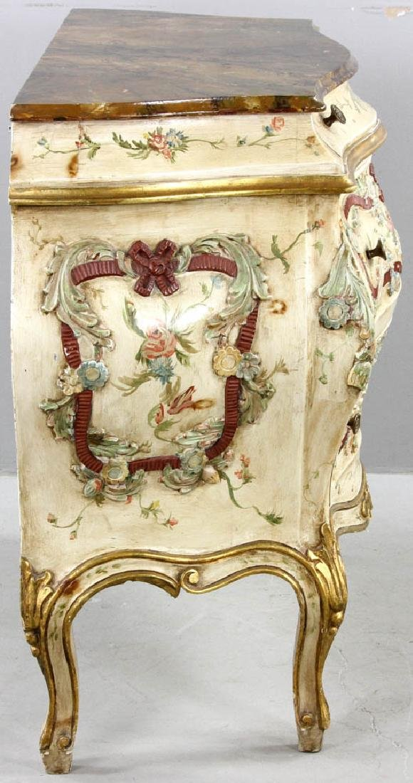 Paint Decorated Bombe Chest - 6