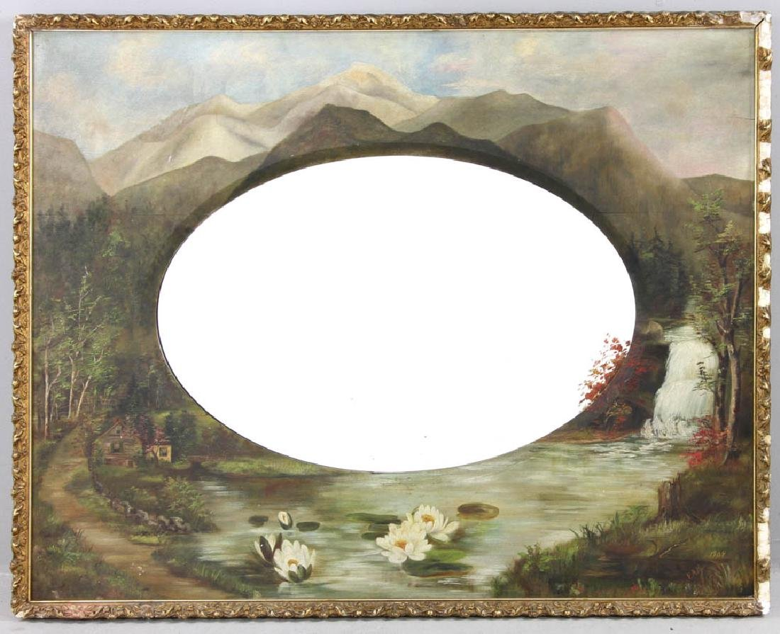 Large Beveled Glass Mirror in Painted Frame