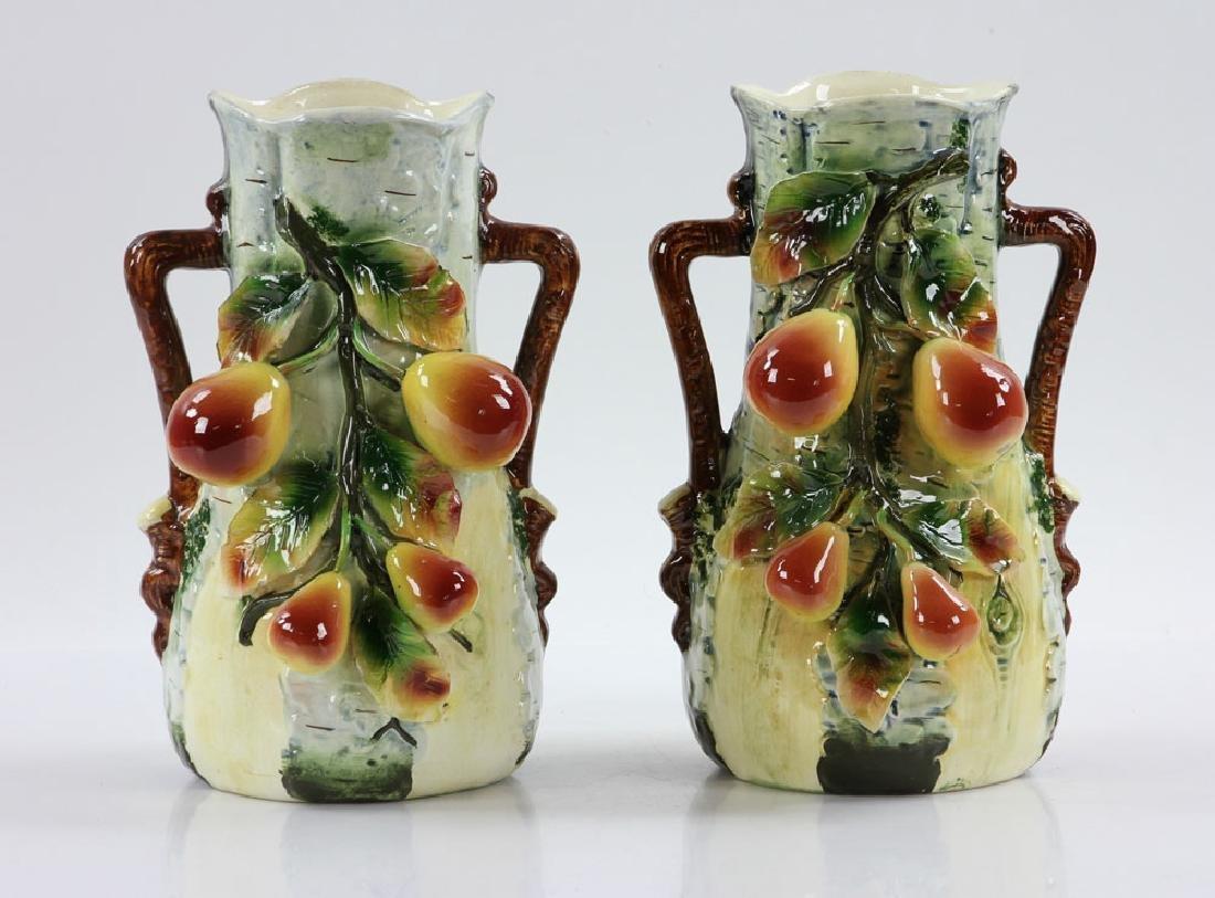 Pair of Majolica Vases