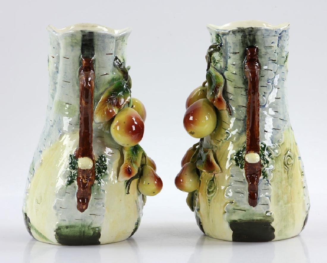 Pair of Majolica Vases - 4