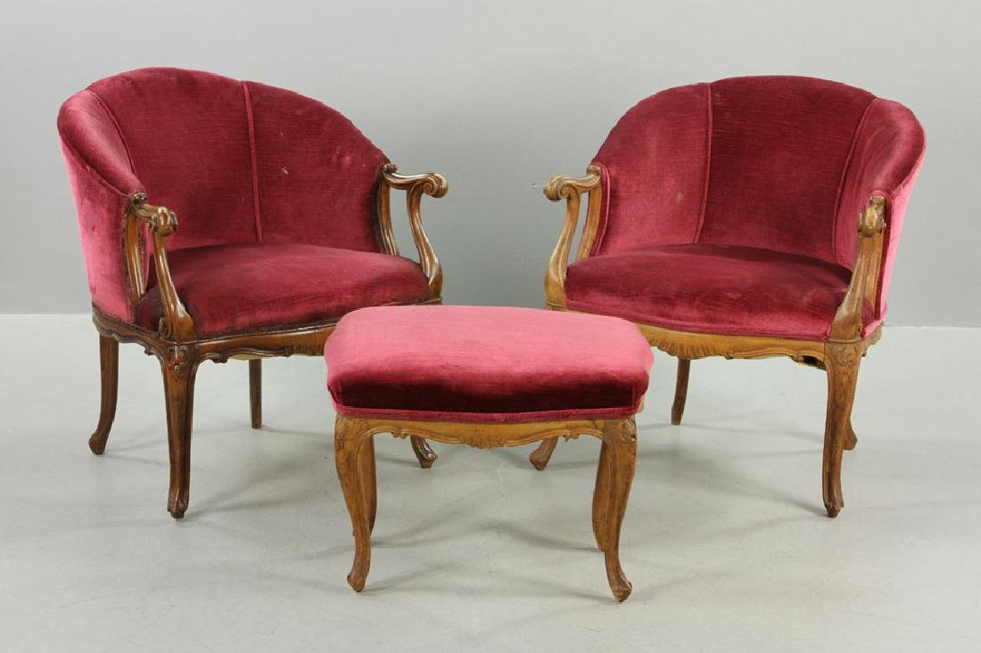 French Velvet Chairs and Footstool