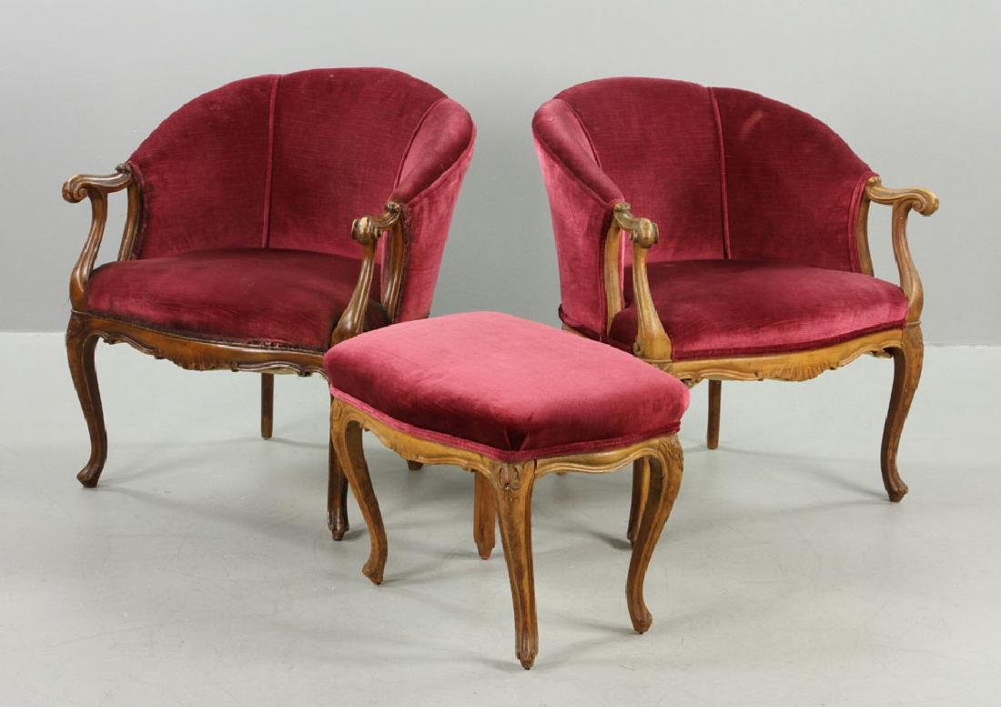 French Velvet Chairs and Footstool - 2