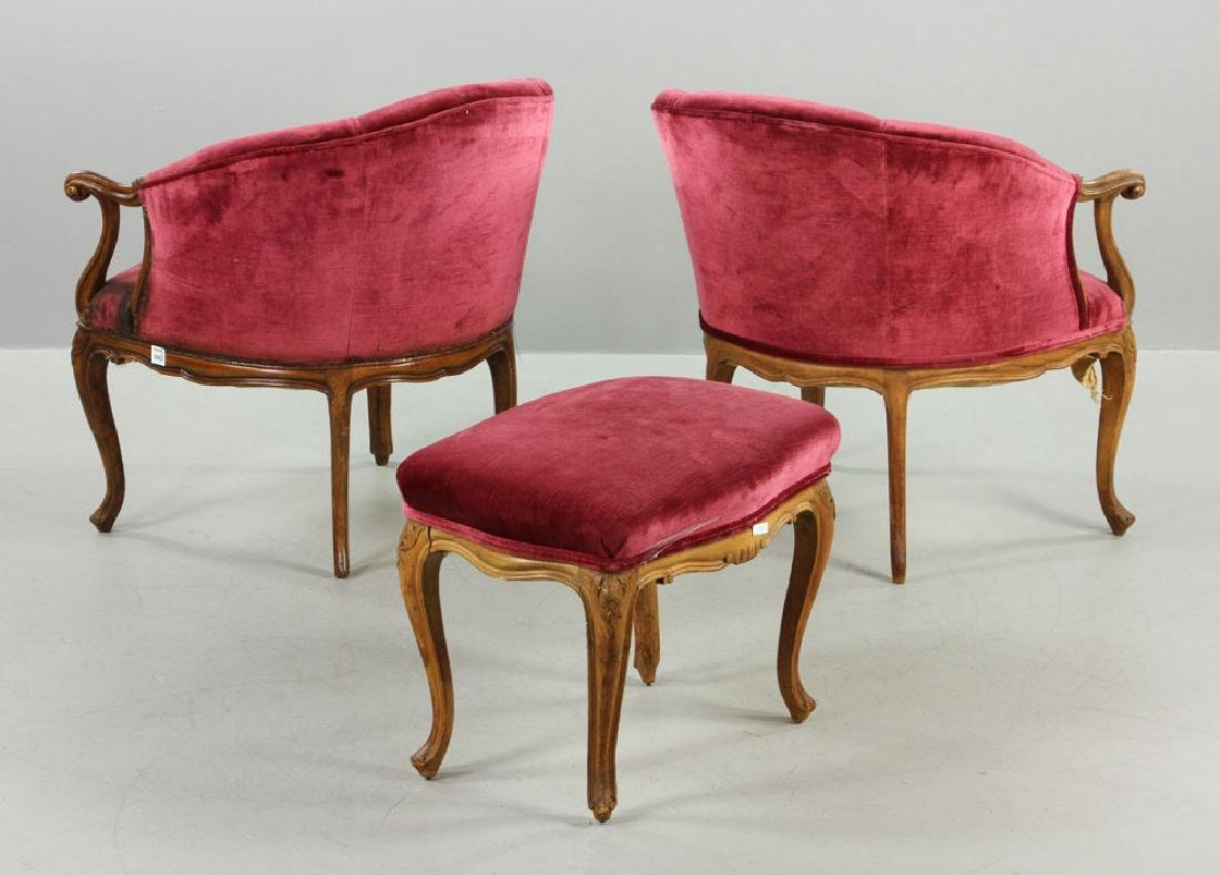 French Velvet Chairs and Footstool - 3