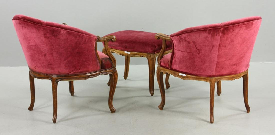 French Velvet Chairs and Footstool - 4