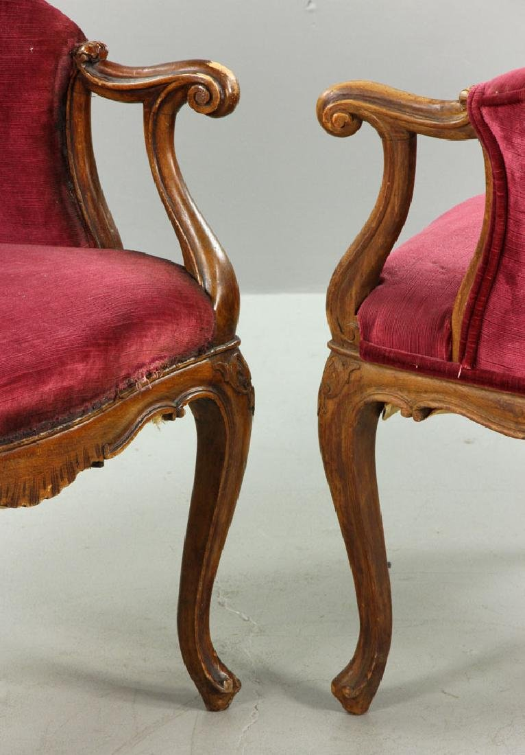 French Velvet Chairs and Footstool - 5