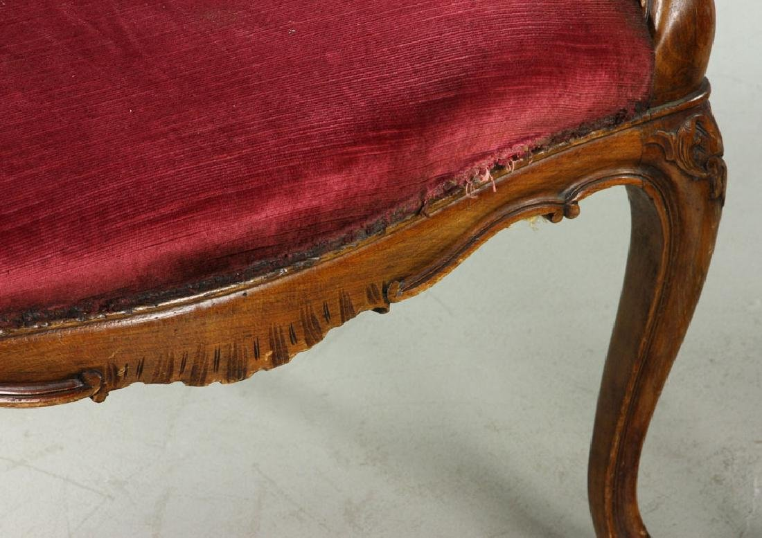 French Velvet Chairs and Footstool - 6