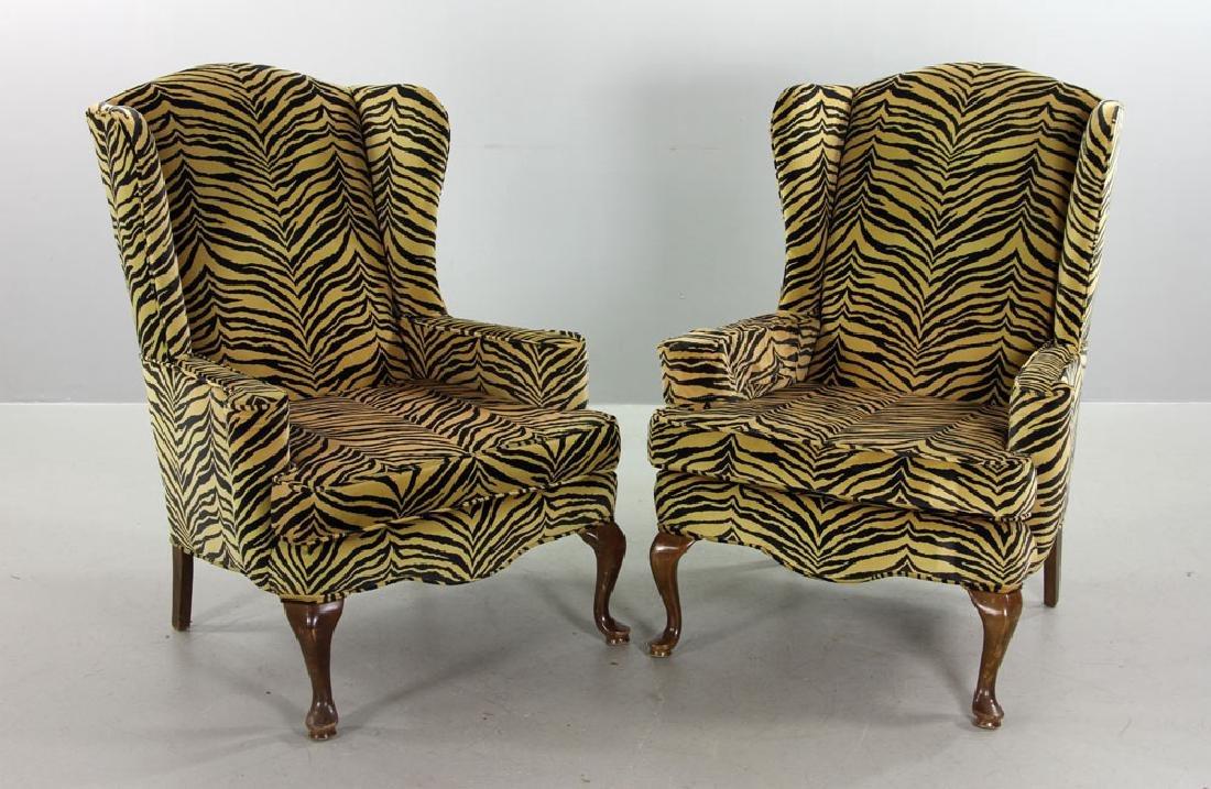 Pr. Queen Anne Style Velvet Wingchairs